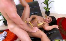 Levi gives a sexy Latina MILF great customer service